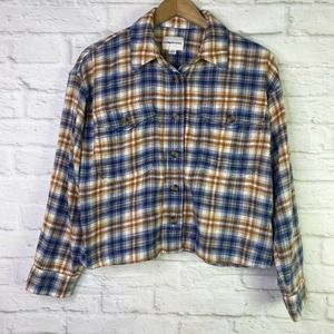 American Eagle Plaid Cropped Button Up Shirt